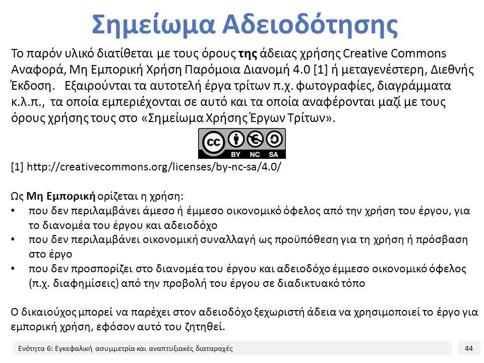 44 Ενότητα 6: Εγκεφαλική ασυμμετρία και αναπτυξιακές διαταραχές Σημείωμα Αδειοδότησης Το παρόν υλικό διατίθεται με τους όρους της άδειας χρήσης Creative Commons Αναφορά, Μη Εμπορική Χρήση Παρόμοια Διανομή 4.0 [1] ή μεταγενέστερη, Διεθνής Έκδοση.