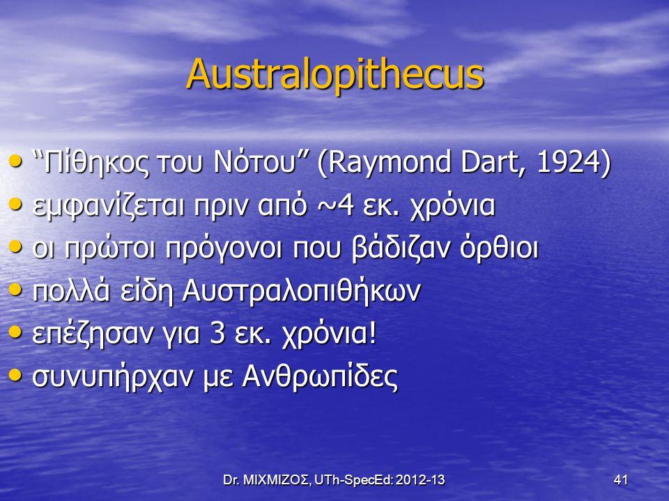 "Australopithecus ""Πίθηκος του Νότου"" (Raymond Dart, 1924) ""Πίθηκος του Νότου"" (Raymond Dart, 1924) εμφανίζεται πριν από ~4 εκ. χρόνια εμφανίζεται πριν"