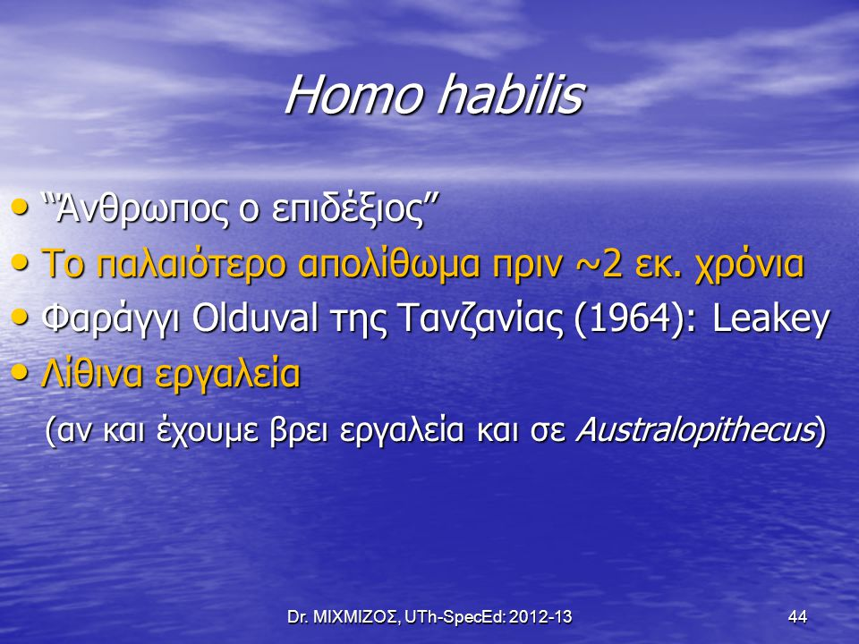 "Homo habilis ""Άνθρωπος ο επιδέξιος"" ""Άνθρωπος ο επιδέξιος"" Το παλαιότερο απολίθωμα πριν ~2 εκ. χρόνια Το παλαιότερο απολίθωμα πριν ~2 εκ. χρόνια Φαράγ"