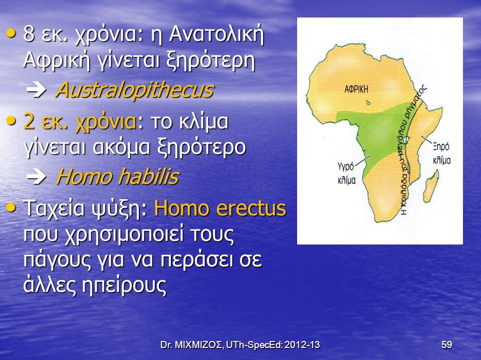 8 εκ. χρόνια: η Ανατολική Αφρική γίνεται ξηρότερη 8 εκ. χρόνια: η Ανατολική Αφρική γίνεται ξηρότερη  Australopithecus  Australopithecus 2 εκ. χρόνια