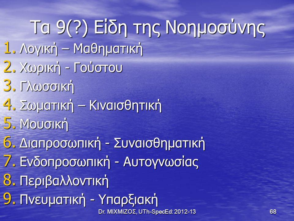 Τα 9(?) Είδη της Νοημοσύνης 1. Λογική – Μαθηματική 2. Χωρική - Γούστου 3. Γλωσσική 4. Σωματική – Κιναισθητική 5. Μουσική 6. Διαπροσωπική - Συναισθηματ