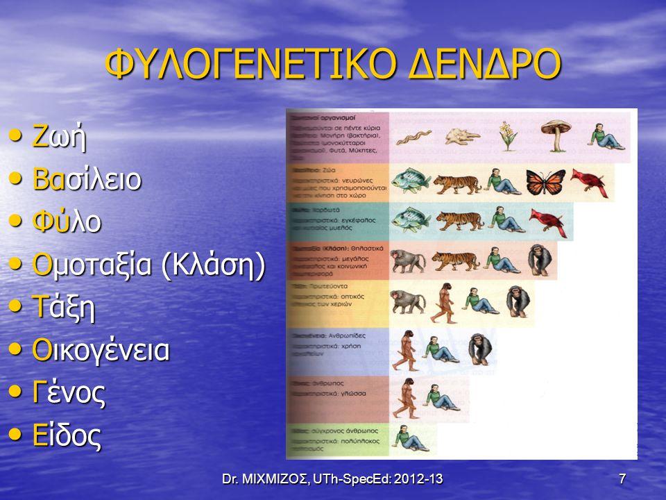 ΦΥΛΟΓΕΝΕΤΙΚΟ ΔΕΝΔΡΟ Ζωή Ζωή Βασίλειο Βασίλειο Φύλο Φύλο Ομοταξία (Κλάση) Ομοταξία (Κλάση) Τάξη Τάξη Οικογένεια Οικογένεια Γένος Γένος Είδος Είδος Dr.