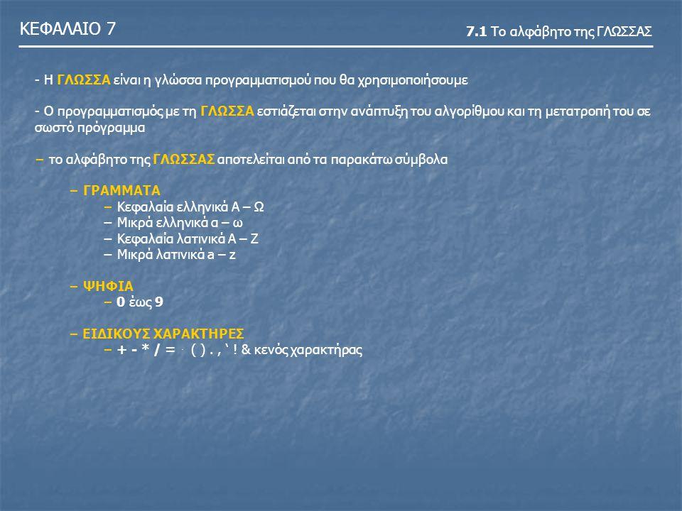 ΚΕΦΑΛΑΙΟ 7 7.2 Τύποι δεδομένων -Στην ΓΛΩΣΣΑ, όπως και σε όλες σχεδόν τις γλώσσες προγραμματισμού, πρέπει να δηλώσουμε τον τύπο των δεδομένων - Στην ΓΛΩΣΣΑ χρησιμοποιούνται οι παρακάτω τύποι δεδομένων - Ακέραιος τύπος.