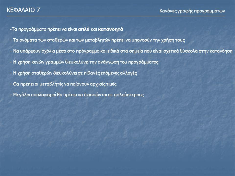ΚΕΦΑΛΑΙΟ 7 Κανόνες γραφής προγραμμάτων -Τα προγράμματα πρέπει να είναι απλά και κατανοητά - Τα ονόματα των σταθερών και των μεταβλητών πρέπει να υπονο