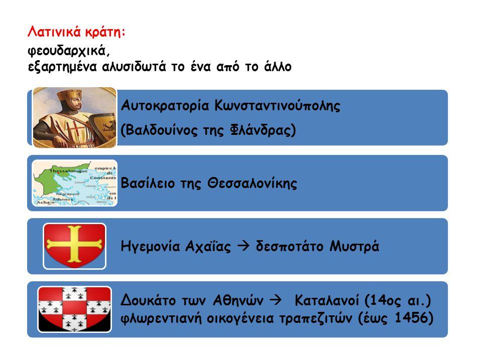 Λατινικά κράτη: φεουδαρχικά, εξαρτημένα αλυσιδωτά το ένα από το άλλο Αυτοκρατορία Κωνσταντινούπολης (Βαλδουίνος της Φλάνδρας) Βασίλειο της Θεσσαλονίκη