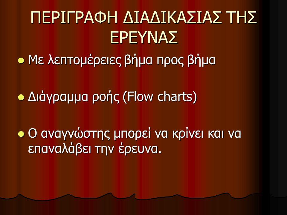 ΠΕΡΙΓΡΑΦΗ ΔΙΑΔΙΚΑΣΙΑΣ ΤΗΣ ΕΡΕΥΝΑΣ Με λεπτομέρειες βήμα προς βήμα Με λεπτομέρειες βήμα προς βήμα Διάγραμμα ροής (Flow charts) Διάγραμμα ροής (Flow charts) O αναγνώστης μπορεί να κρίνει και να επαναλάβει την έρευνα.