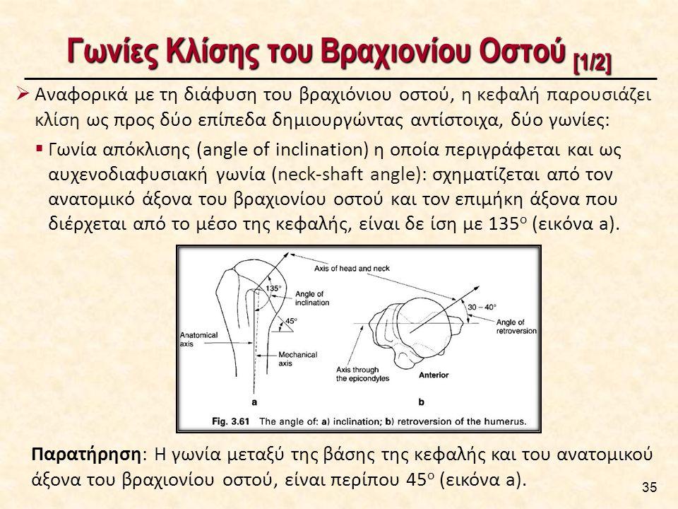 Γωνίες Κλίσης του Βραχιονίου Οστού [1/2]  Αναφορικά με τη διάφυση του βραχιόνιου οστού, η κεφαλή παρουσιάζει κλίση ως προς δύο επίπεδα δημιουργώντας αντίστοιχα, δύο γωνίες:  Γωνία απόκλισης (angle of inclination) η οποία περιγράφεται και ως αυχενοδιαφυσιακή γωνία (neck-shaft angle): σχηματίζεται από τον ανατομικό άξονα του βραχιονίου οστού και τον επιμήκη άξονα που διέρχεται από το μέσο της κεφαλής, είναι δε ίση με 135 ο (εικόνα a).