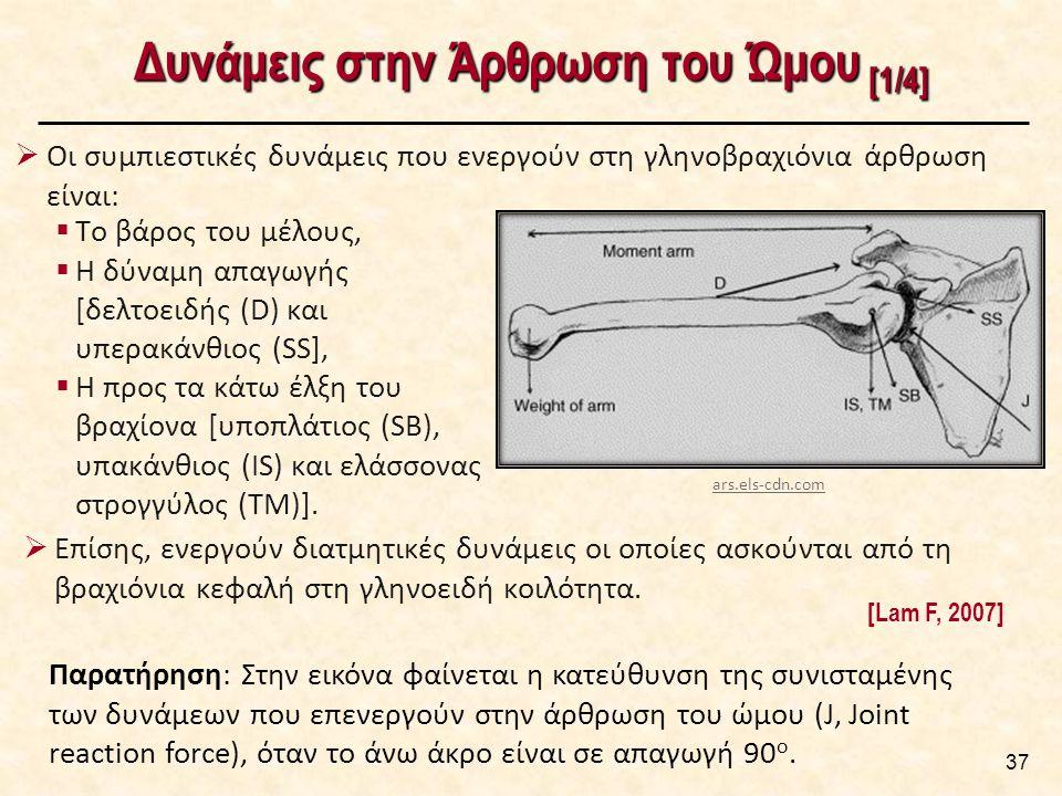 Δυνάμεις στην Άρθρωση του Ώμου [1/4]  Οι συμπιεστικές δυνάμεις που ενεργούν στη γληνοβραχιόνια άρθρωση είναι: 37 Παρατήρηση: Στην εικόνα φαίνεται η κατεύθυνση της συνισταμένης των δυνάμεων που επενεργούν στην άρθρωση του ώμου (J, Joint reaction force), όταν το άνω άκρο είναι σε απαγωγή 90 ο.