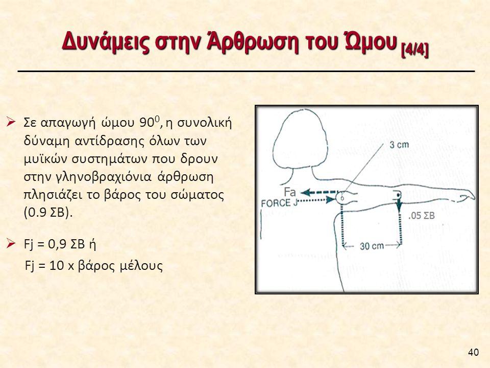 Δυνάμεις στην Άρθρωση του Ώμου [4/4] 40  Σε απαγωγή ώμου 90 0, η συνολική δύναμη αντίδρασης όλων των μυϊκών συστημάτων που δρουν στην γληνοβραχιόνια άρθρωση πλησιάζει το βάρος του σώματος (0.9 ΣΒ).
