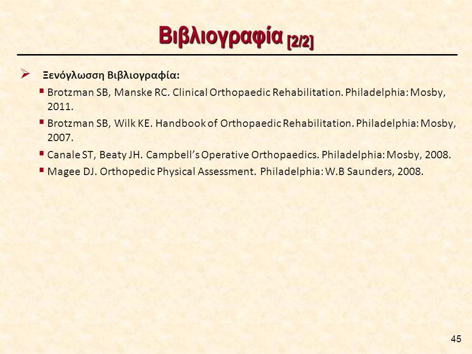 Βιβλιογραφία [2/2]  Ξενόγλωσση Βιβλιογραφία:  Brotzman SB, Manske RC. Clinical Orthopaedic Rehabilitation. Philadelphia: Mosby, 2011.  Brotzman SB,