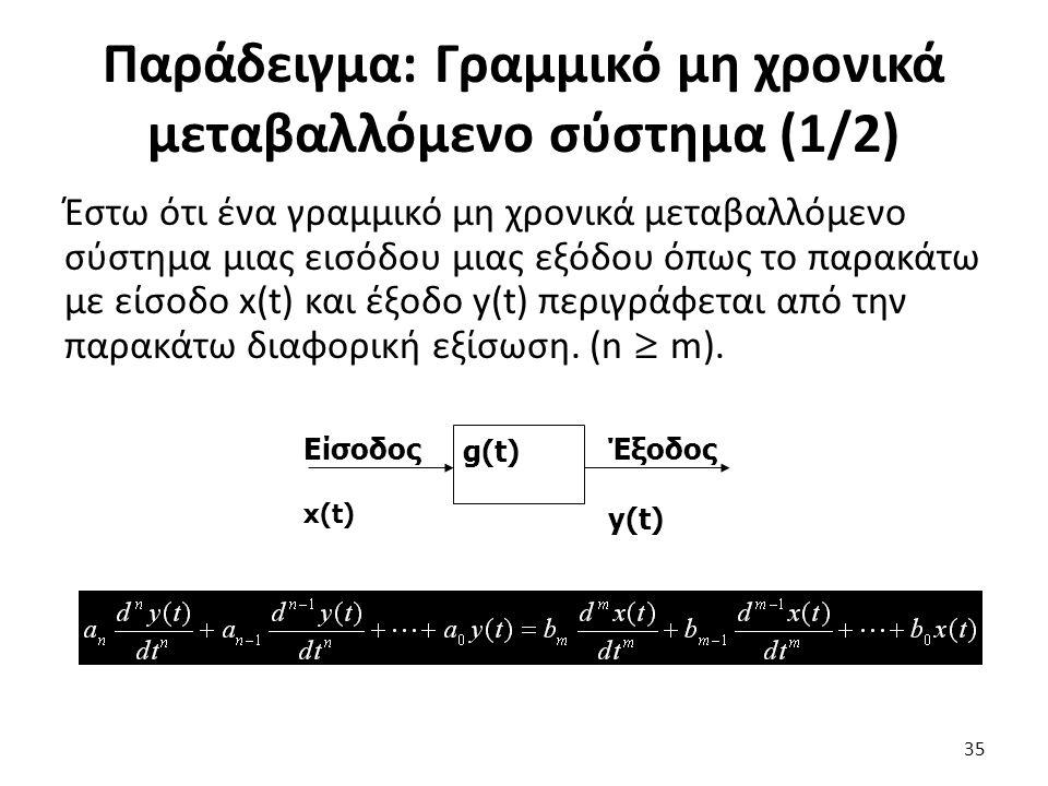 Έστω ότι ένα γραμμικό μη χρονικά μεταβαλλόμενο σύστημα μιας εισόδου μιας εξόδου όπως το παρακάτω με είσοδο x(t) και έξοδο y(t) περιγράφεται από την παρακάτω διαφορική εξίσωση.