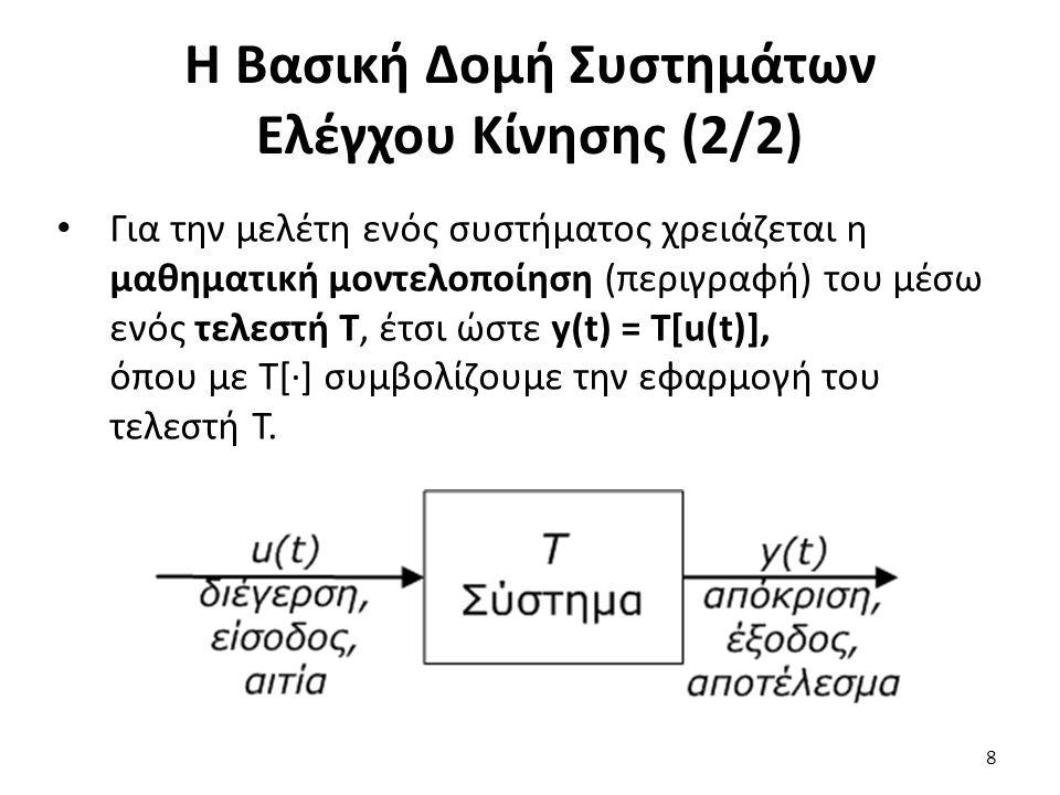 Για την μελέτη ενός συστήματος χρειάζεται η μαθηματική μοντελοποίηση (περιγραφή) του μέσω ενός τελεστή T, έτσι ώστε y(t) = T[u(t)], όπου με Τ[·] συμβο