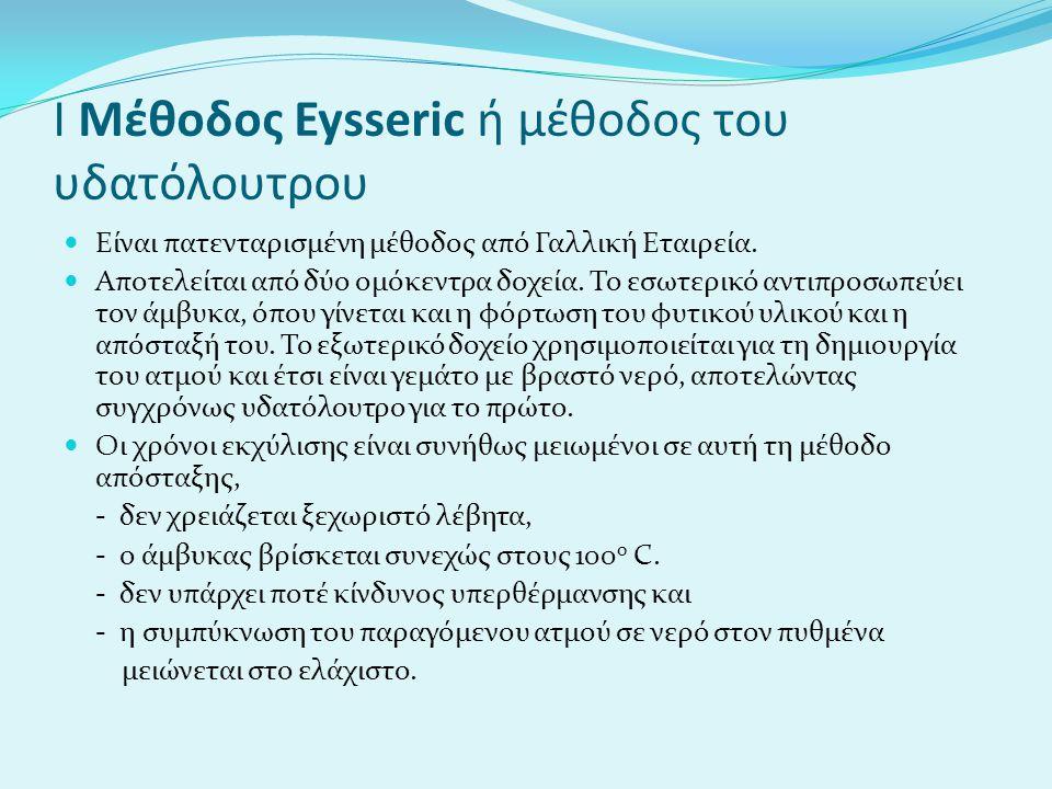 Ι Μέθοδος Eysseric ή μέθοδος του υδατόλουτρου Είναι πατενταρισμένη μέθοδος από Γαλλική Εταιρεία. Αποτελείται από δύο ομόκεντρα δοχεία. Το εσωτερικό αν