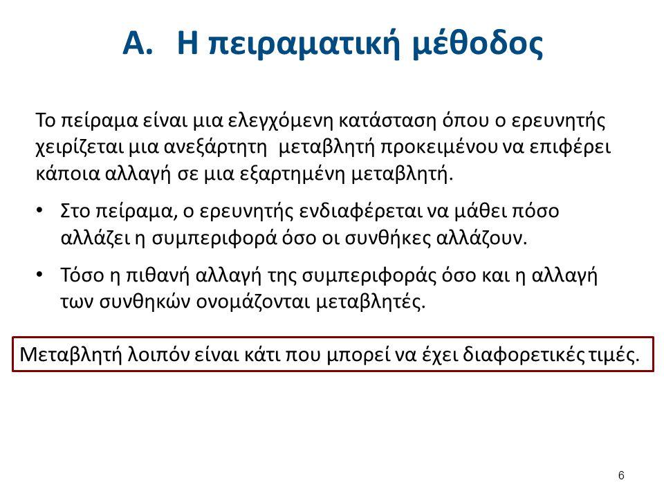 A.Η πειραματική μέθοδος Το πείραμα είναι μια ελεγχόμενη κατάσταση όπου ο ερευνητής χειρίζεται μια ανεξάρτητη μεταβλητή προκειμένου να επιφέρει κάποια