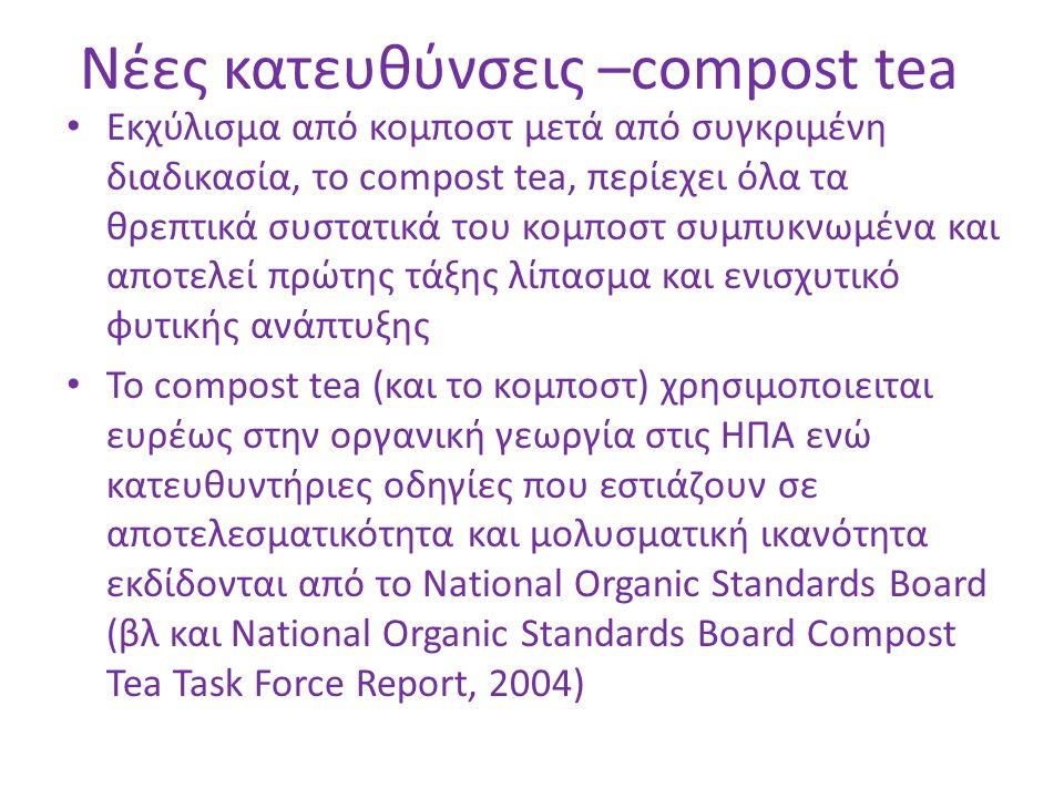 Νέες κατευθύνσεις –compost tea Εκχύλισμα από κομποστ μετά από συγκριμένη διαδικασία, το compost tea, περίεχει όλα τα θρεπτικά συστατικά του κομποστ συ