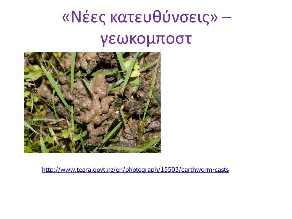 «Νέες κατευθύνσεις» – γεωκομποστ http://www.teara.govt.nz/en/photograph/15503/earthworm-casts