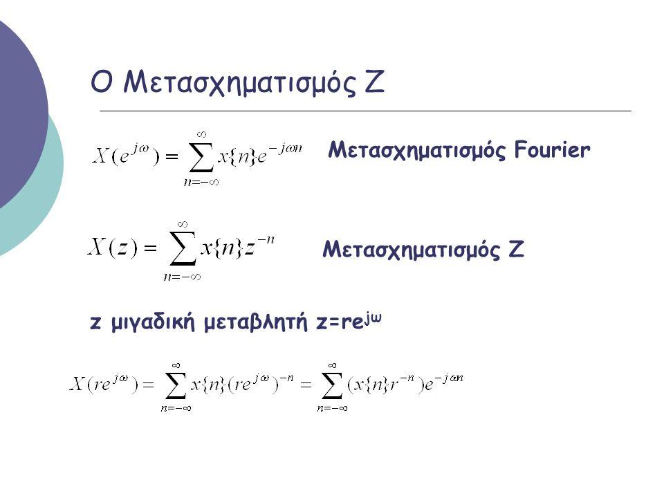 Ο Μετασχηματισμός Ζ Μετασχηματισμός Fourier Μετασχηματισμός Ζ z μιγαδική μεταβλητή z=re jω