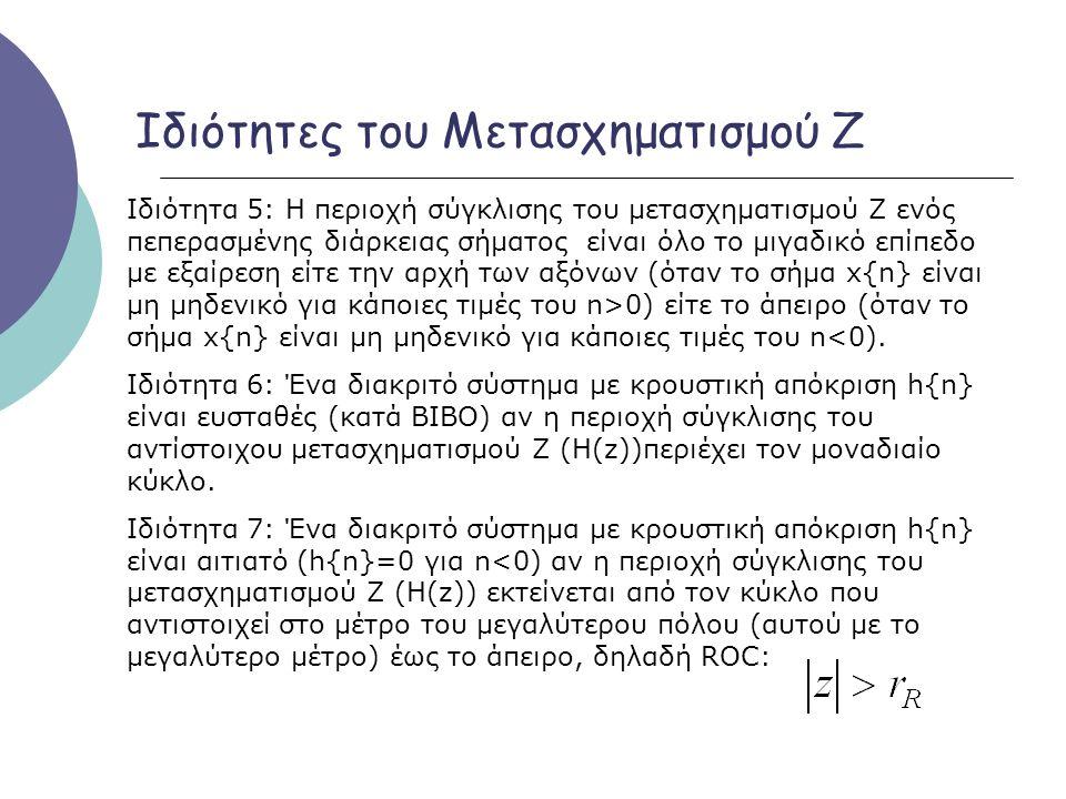 Ιδιότητες του Μετασχηματισμού Ζ Ιδιότητα 5: Η περιοχή σύγκλισης του μετασχηματισμού Ζ ενός πεπερασμένης διάρκειας σήματος είναι όλο το μιγαδικό επίπεδ