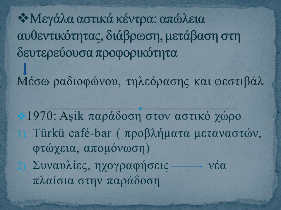 Μέσω ραδιοφώνου, τηλεόρασης και φεστιβάλ  1970: Aşik παράδοση στον αστικό χώρο 1) Türkü café-bar ( προβλήματα μεταναστών, φτώχεια, απομόνωση) 2) Συνα