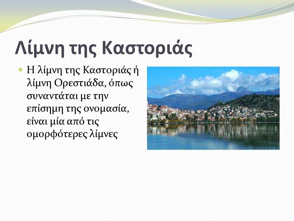 Λίμνη της Καστοριάς Η λίμνη της Καστοριάς ή λίμνη Ορεστιάδα, όπως συναντάται με την επίσημη της ονομασία, είναι μία από τις ομορφότερες λίμνες