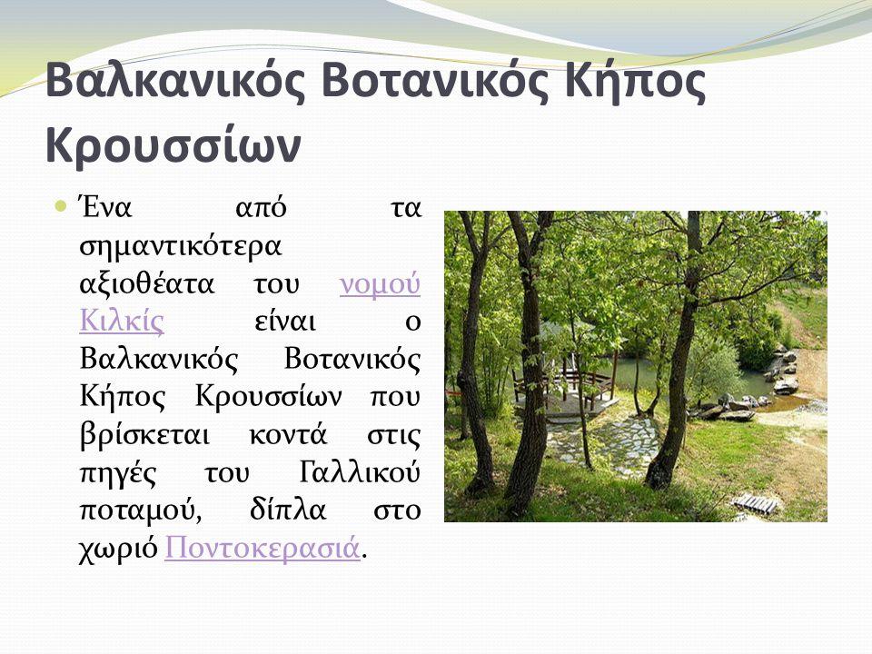 Βαλκανικός Βοτανικός Κήπος Κρουσσίων Ένα από τα σημαντικότερα αξιοθέατα του νομού Κιλκίς είναι ο Βαλκανικός Βοτανικός Κήπος Κρουσσίων που βρίσκεται κοντά στις πηγές του Γαλλικού ποταμού, δίπλα στο χωριό Ποντοκερασιά.νομού ΚιλκίςΠοντοκερασιά