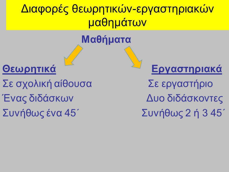 Διαφορές θεωρητικών-εργαστηριακών μαθημάτων Μαθήματα Θεωρητικά Εργαστηριακά Σε σχολική αίθουσα Σε εργαστήριο Ένας διδάσκων Δυο διδάσκοντες Συνήθως ένα 45΄ Συνήθως 2 ή 3 45΄