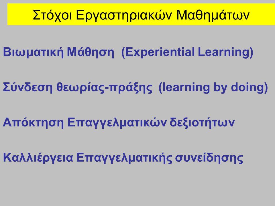 Βιωματική Μάθηση (Experiential Learning) Σύνδεση θεωρίας-πράξης (learning by doing) Απόκτηση Επαγγελματικών δεξιοτήτων Καλλιέργεια Επαγγελματικής συνείδησης