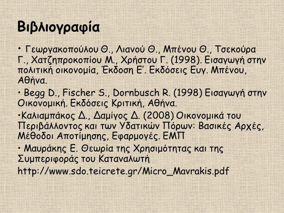 Βιβλιογραφία Γεωργακοπούλου Θ., Λιανού Θ., Μπένου Θ., Τσεκούρα Γ., Χατζηπροκοπίου Μ., Χρήστου Γ. (1998). Εισαγωγή στην πολιτική οικονομία, Έκδοση Ε'.