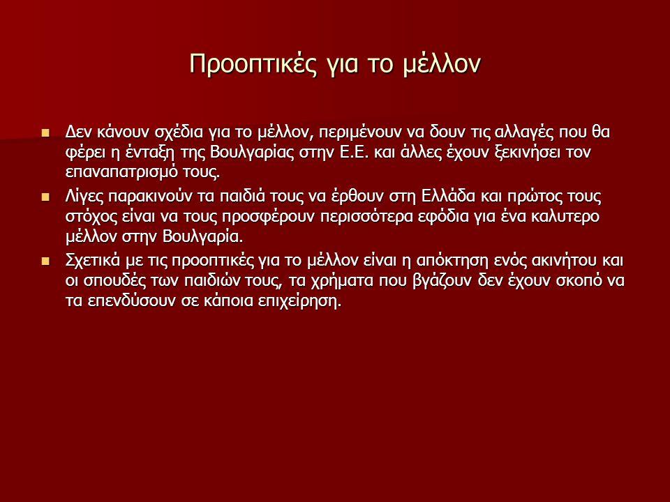 Προοπτικές για το μέλλον Δεν κάνουν σχέδια για το μέλλον, περιμένουν να δουν τις αλλαγές που θα φέρει η ένταξη της Βουλγαρίας στην Ε.Ε. και άλλες έχου