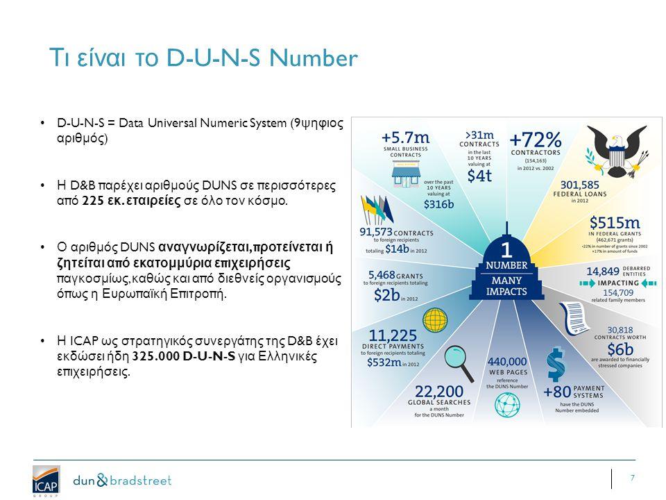 7 Τι είναι το D-U-N-S Number D-U-N-S = Data Universal Numeric System (9 ψηφιος αριθμός ) Η D&B π αρέχει αριθμούς DUNS σε π ερισσότερες α π ό 225 εκ.