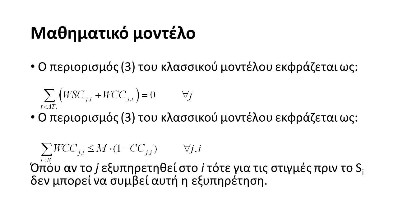 Μαθηματικό μοντέλο Ο περιορισμός (3) του κλασσικού μοντέλου εκφράζεται ως: Όπου αν το j εξυπηρετηθεί στο i τότε για τις στιγμές πριν το S i δεν μπορεί να συμβεί αυτή η εξυπηρέτηση.