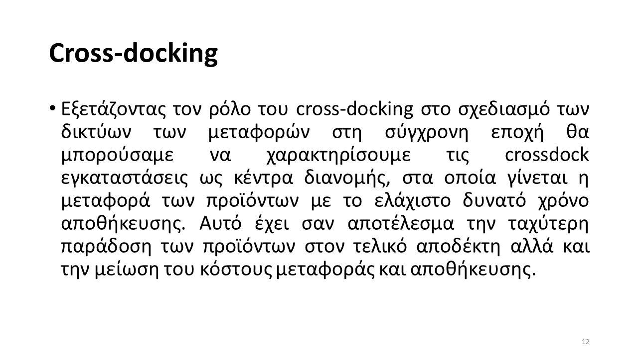 Cross-docking Εξετάζοντας τον ρόλο του cross-docking στο σχεδιασμό των δικτύων των μεταφορών στη σύγχρονη εποχή θα μπορούσαμε να χαρακτηρίσουμε τις crossdock εγκαταστάσεις ως κέντρα διανομής, στα οποία γίνεται η μεταφορά των προϊόντων με το ελάχιστο δυνατό χρόνο αποθήκευσης.