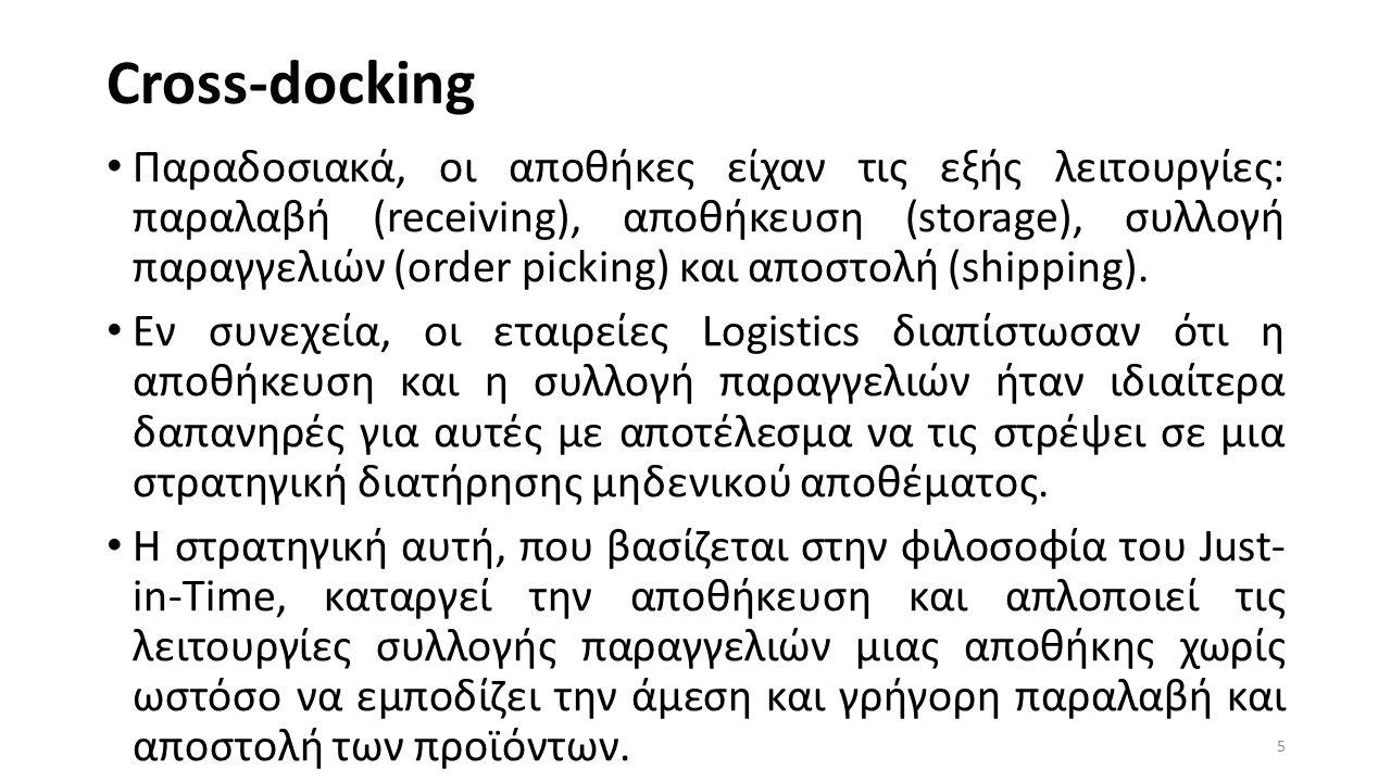 Cross-docking Παραδοσιακά, οι αποθήκες είχαν τις εξής λειτουργίες: παραλαβή (receiving), αποθήκευση (storage), συλλογή παραγγελιών (order picking) και αποστολή (shipping).