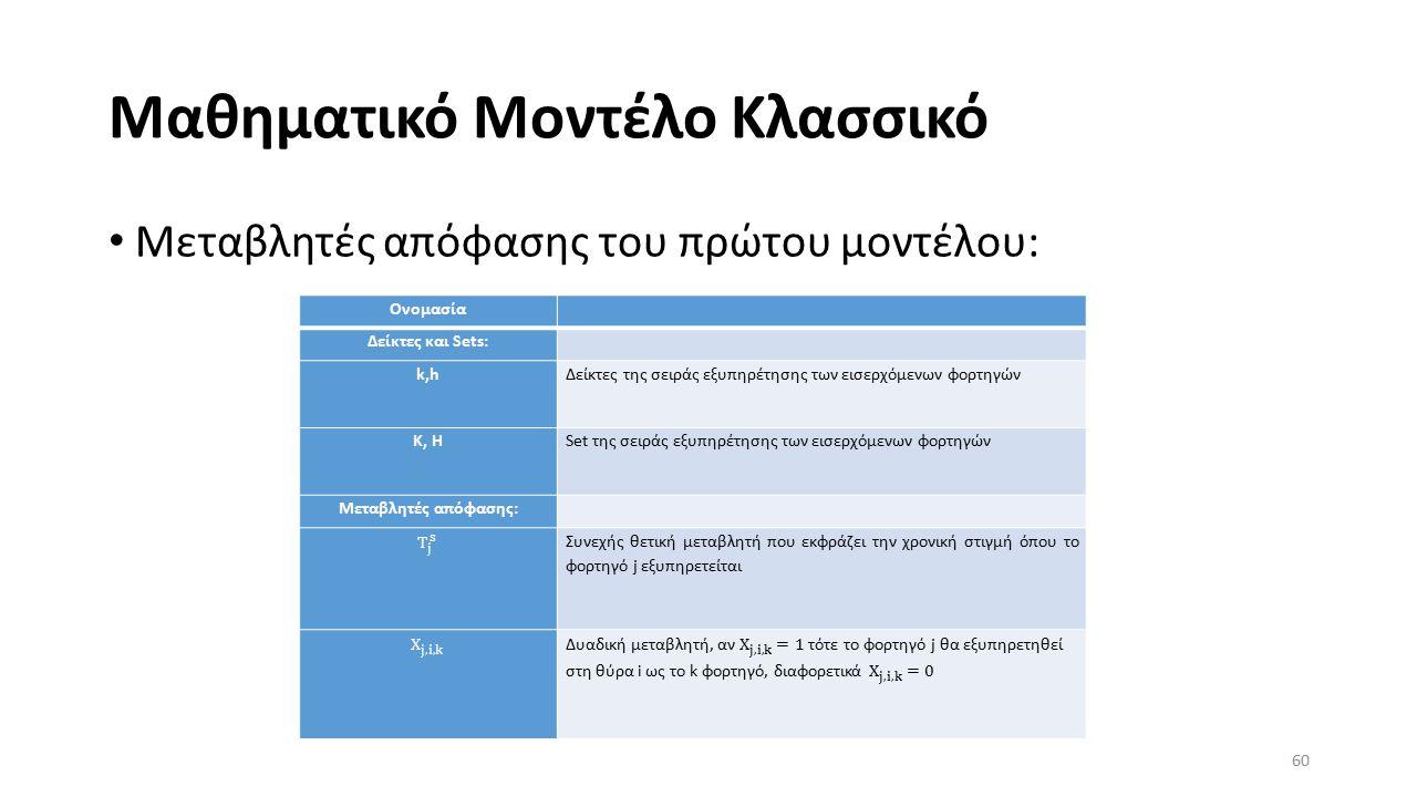 Μαθηματικό Μοντέλο Κλασσικό Μεταβλητές απόφασης του πρώτου μοντέλου: 60 Ονομασία Δείκτες και Sets: k,hΔείκτες της σειράς εξυπηρέτησης των εισερχόμενων φορτηγών K, HSet της σειράς εξυπηρέτησης των εισερχόμενων φορτηγών Μεταβλητές απόφασης: Συνεχής θετική μεταβλητή που εκφράζει την χρονική στιγμή όπου το φορτηγό j εξυπηρετείται