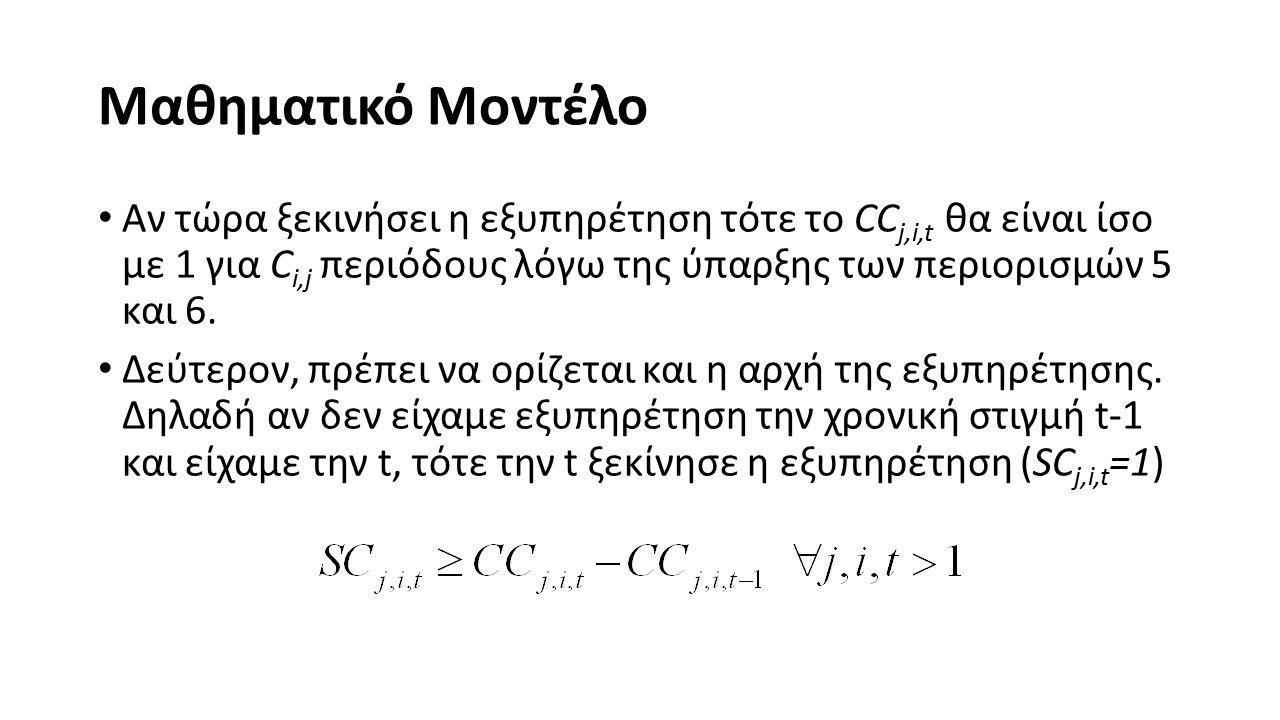Μαθηματικό Μοντέλο Αν τώρα ξεκινήσει η εξυπηρέτηση τότε το CC j,i,t θα είναι ίσο με 1 για C i,j περιόδους λόγω της ύπαρξης των περιορισμών 5 και 6.