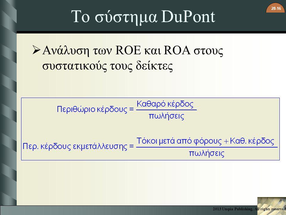 28-16 Το σύστημα DuPont  Ανάλυση των ROE και ROA στους συστατικούς τους δείκτες 2013 Utopia Publishing, All rights reserved
