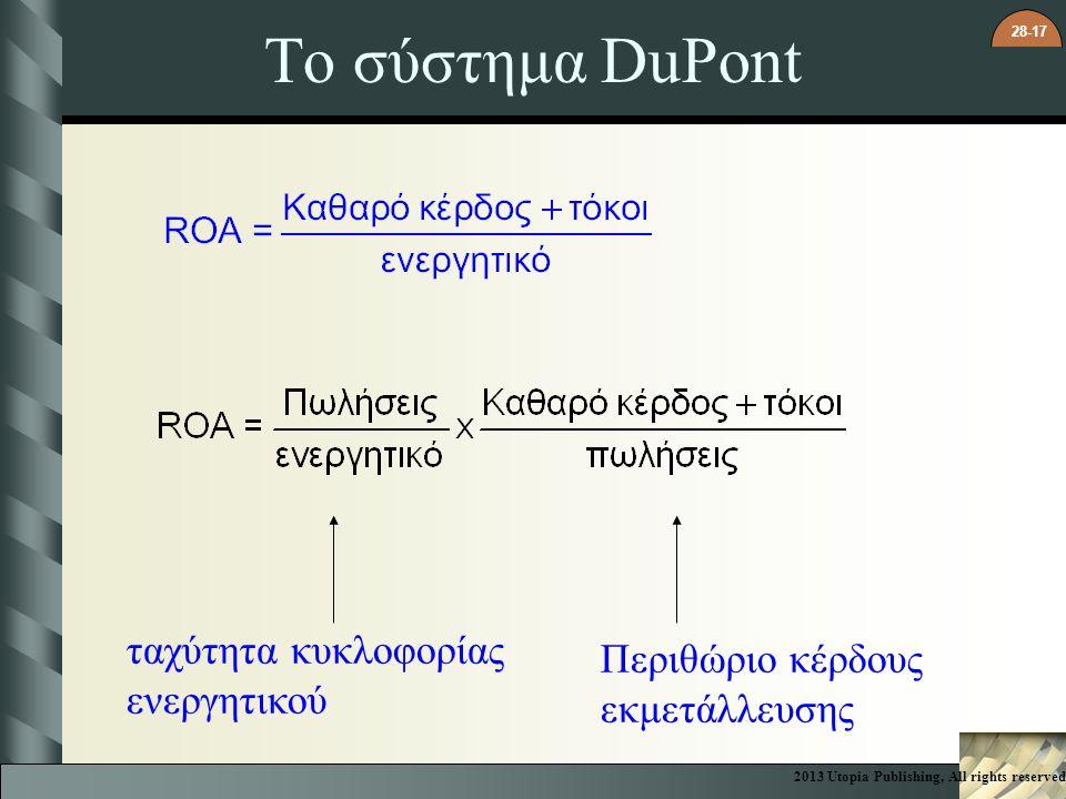 28-17 Το σύστημα DuPont ταχύτητα κυκλοφορίας ενεργητικού Περιθώριο κέρδους εκμετάλλευσης 2013 Utopia Publishing, All rights reserved