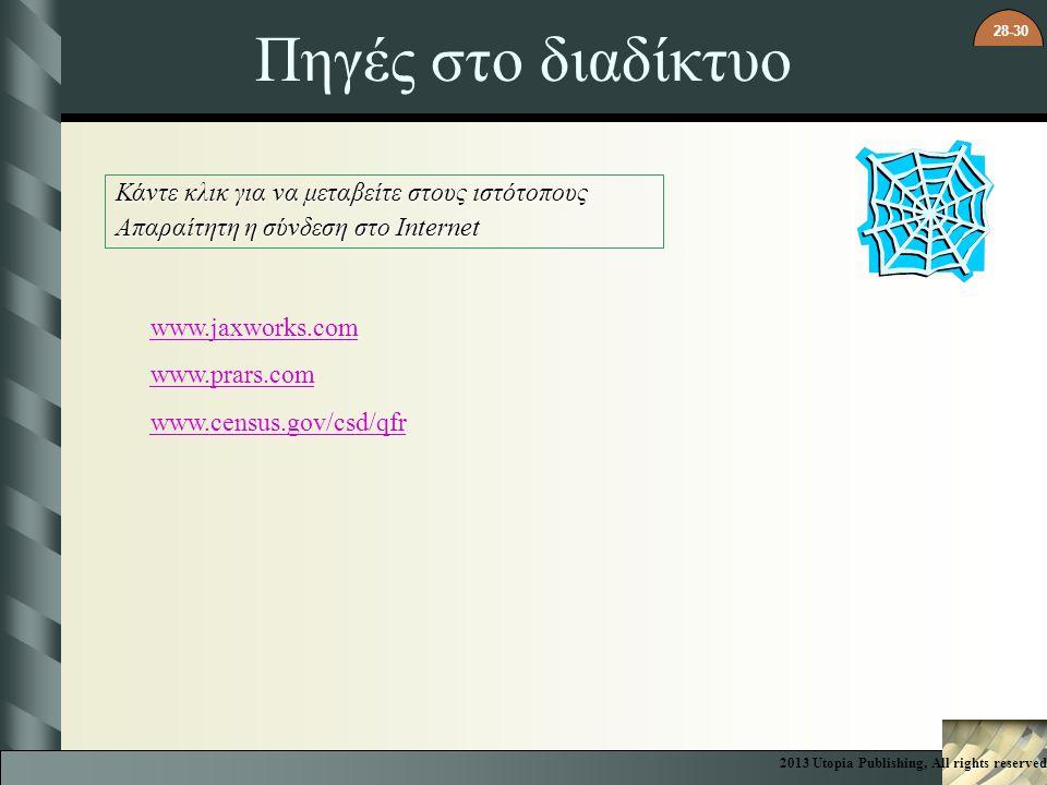28-30 Πηγές στο διαδίκτυο Κάντε κλικ για να μεταβείτε στους ιστότοπους Απαραίτητη η σύνδεση στο Internet www.jaxworks.com www.prars.com www.census.gov
