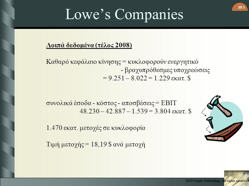28-5 Lowe's Companies Λοιπά δεδομένα (τέλος 2008) Καθαρό κεφάλαιο κίνησης = κυκλοφορούν ενεργητικό - βραχυπρόθεσμες υποχρεώσεις = 9.251 – 8.022 = 1.22