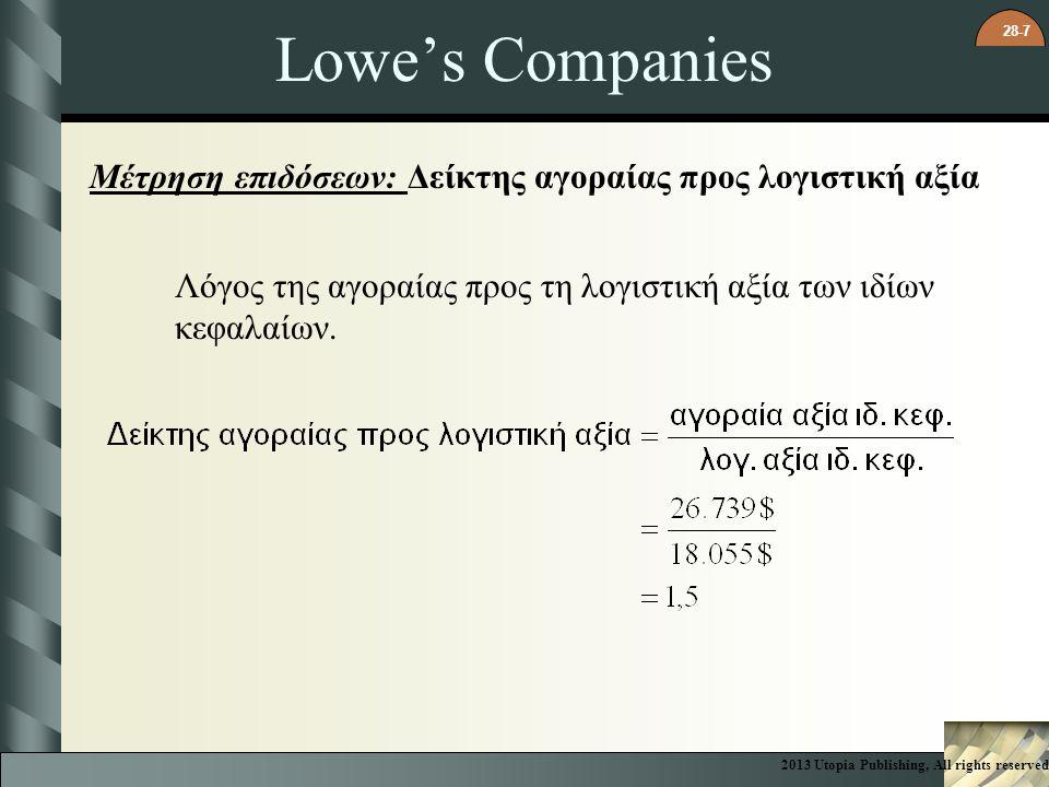 28-7 Lowe's Companies Μέτρηση επιδόσεων: Δείκτης αγοραίας προς λογιστική αξία Λόγος της αγοραίας προς τη λογιστική αξία των ιδίων κεφαλαίων. 2013 Utop