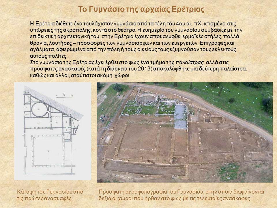 Η Ερέτρια διέθετε ένα τουλάχιστον γυμνάσιο από τα τέλη του 4ου αι. πΧ, κτισμένο στις υπώρειες της ακρόπολης, κοντά στο θέατρο. Η ευημερία του γυμνασίο