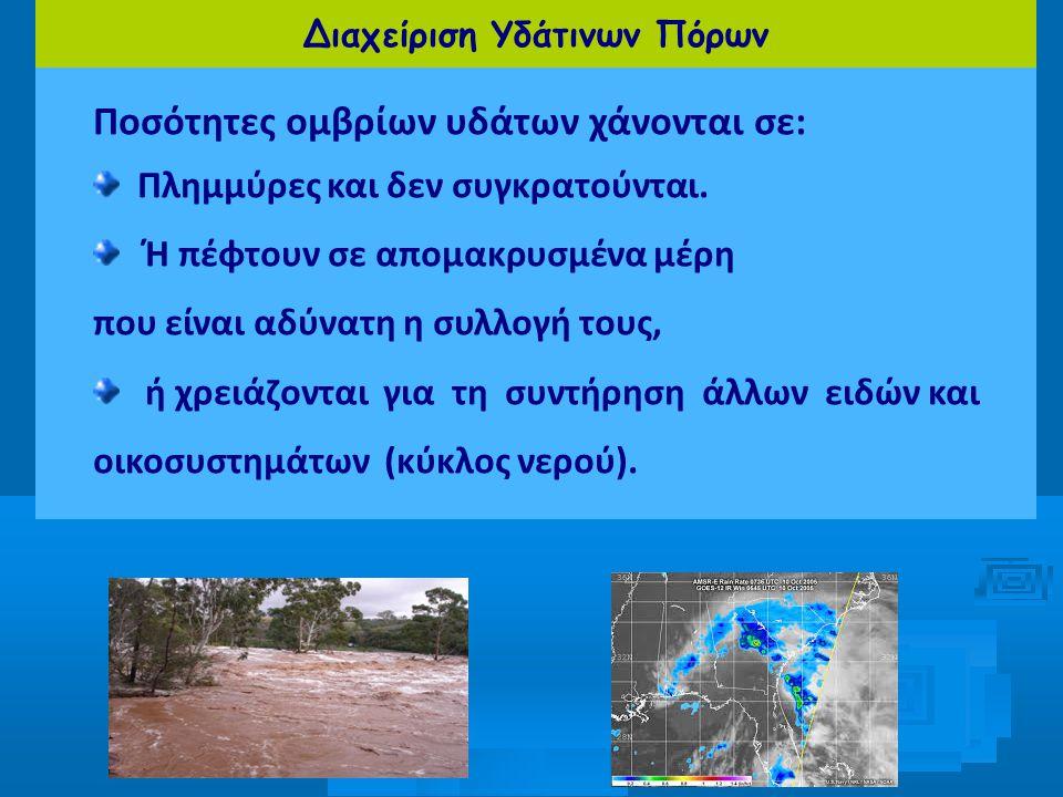 Διαχείριση Υδάτινων Πόρων Ποσότητες ομβρίων υδάτων χάνονται σε: Πλημμύρες και δεν συγκρατούνται. Ή πέφτουν σε απομακρυσμένα μέρη που είναι αδύνατη η σ