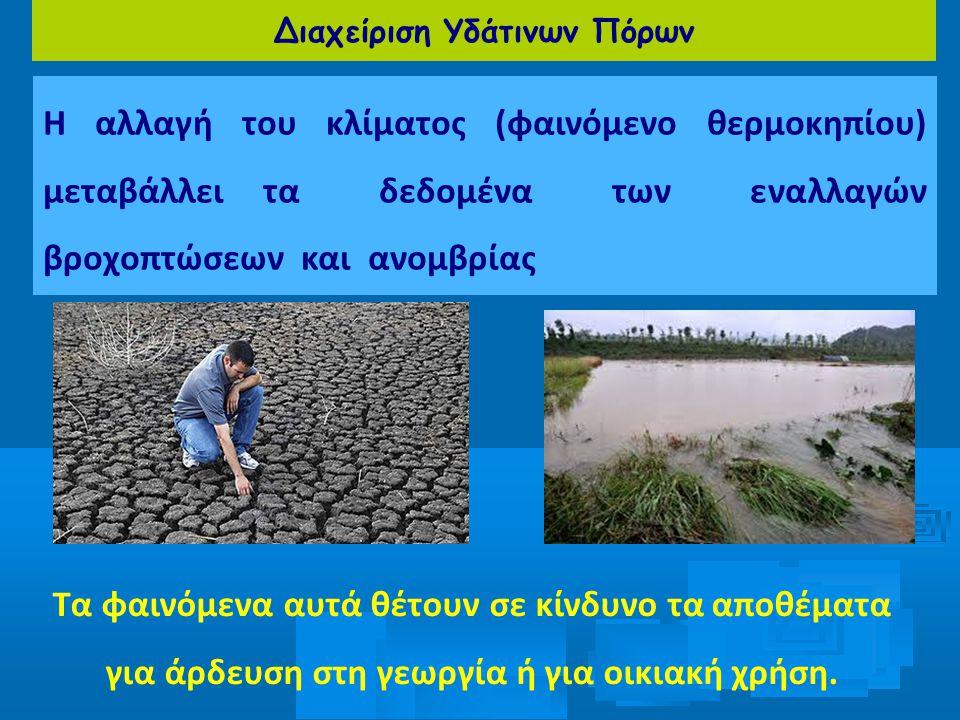 Διαχείριση Υδάτινων Πόρων Η αλλαγή του κλίματος (φαινόμενο θερμοκηπίου) μεταβάλλει τα δεδομένα των εναλλαγών βροχοπτώσεων και ανομβρίας Τα φαινόμενα α