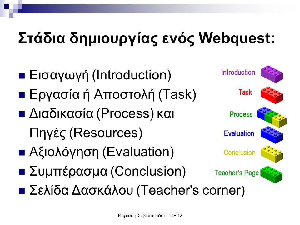 Κυριακή Σεβεντεκίδου, ΠΕ02 Στάδια δημιουργίας ενός Webquest: Εισαγωγή (Introduction) Εργασία ή Αποστολή (Task) Διαδικασία (Process) και Πηγές (Resources) Αξιολόγηση (Evaluation) Συμπέρασμα (Conclusion) Σελίδα Δασκάλου (Teacher s corner)