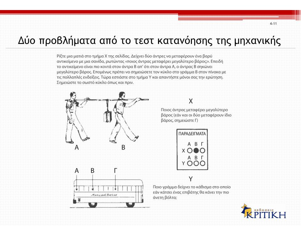 Δύο προβλήματα από το τεστ κατανόησης της μηχανικής 4-11