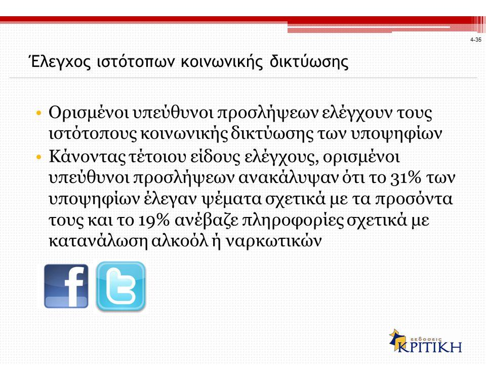 4-35 Έλεγχος ιστότοπων κοινωνικής δικτύωσης Ορισμένοι υπεύθυνοι προσλήψεων ελέγχουν τους ιστότοπους κοινωνικής δικτύωσης των υποψηφίων Κάνοντας τέτοιου είδους ελέγχους, ορισμένοι υπεύθυνοι προσλήψεων ανακάλυψαν ότι το 31% των υποψηφίων έλεγαν ψέματα σχετικά με τα προσόντα τους και το 19% ανέβαζε πληροφορίες σχετικά με κατανάλωση αλκοόλ ή ναρκωτικών