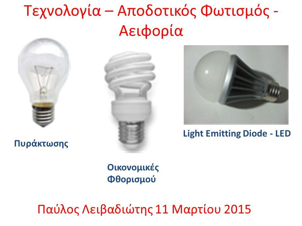 Τεχνολογία – Αποδοτικός Φωτισμός - Αειφορία Παύλος Λειβαδιώτης 11 Μαρτίου 2015 Πυράκτωσης Οικονομικές Φθορισμού Light Emitting Diode - LED