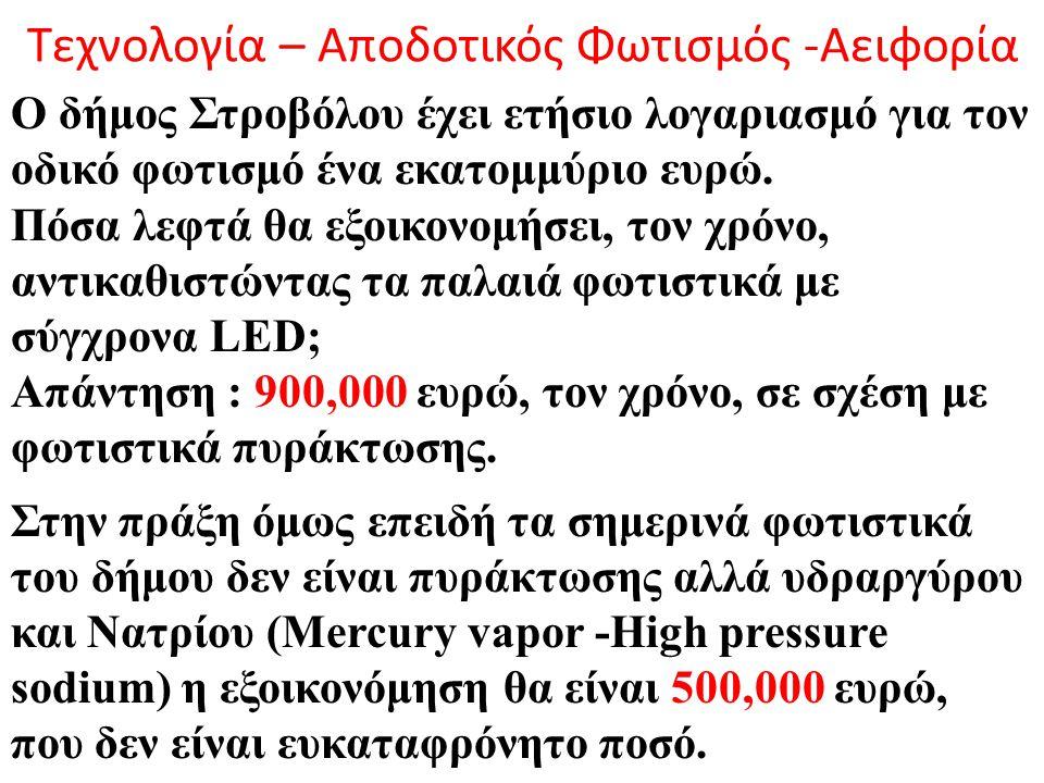 Τεχνολογία – Αποδοτικός Φωτισμός -Αειφορία Ο δήμος Στροβόλου έχει ετήσιο λογαριασμό για τον οδικό φωτισμό ένα εκατομμύριο ευρώ. Πόσα λεφτά θα εξοικονο