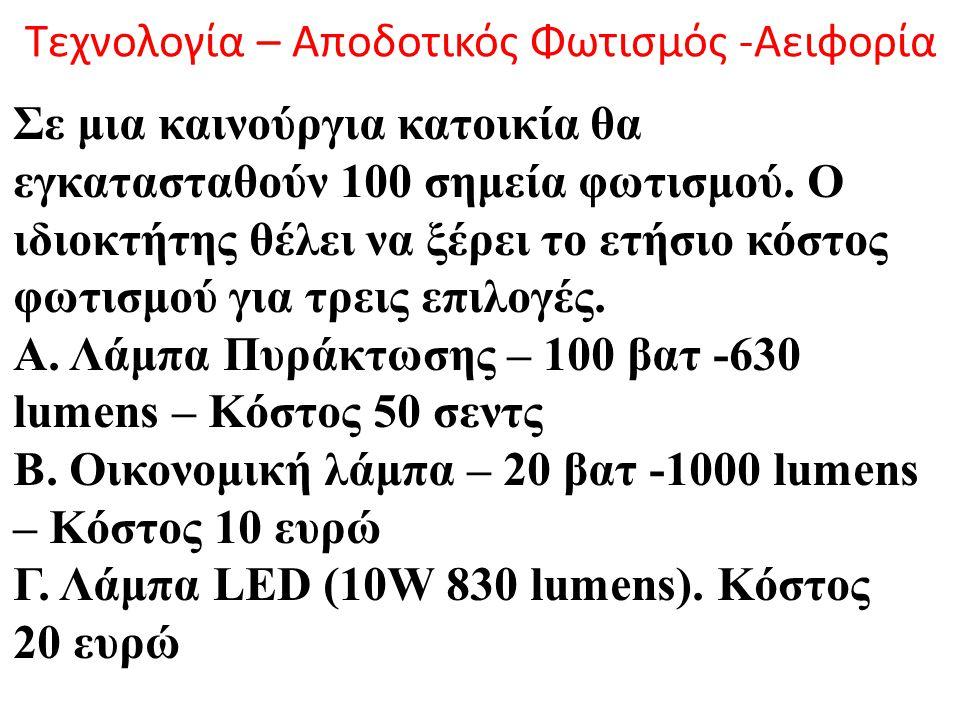 Τεχνολογία – Αποδοτικός Φωτισμός -Αειφορία Σε μια καινούργια κατοικία θα εγκατασταθούν 100 σημεία φωτισμού. Ο ιδιοκτήτης θέλει να ξέρει το ετήσιο κόστ