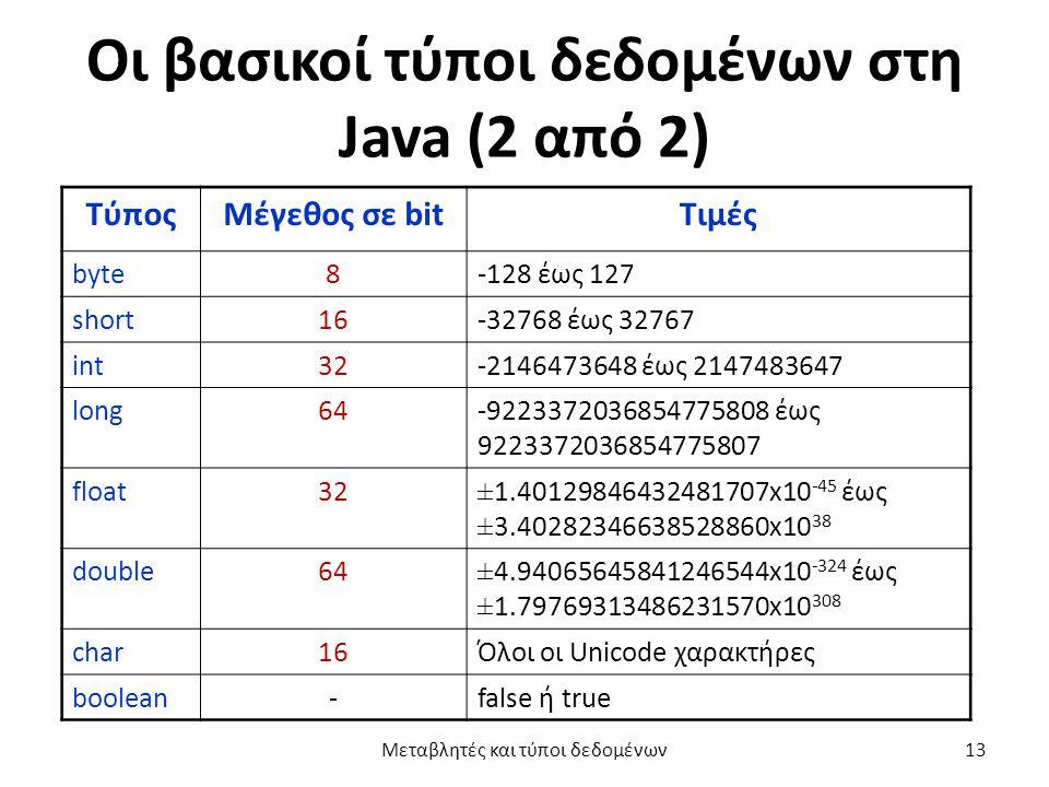 Οι βασικοί τύποι δεδομένων στη Java (2 από 2) ΤύποςΜέγεθος σε bitΤιμές byte8-128 έως 127 short16-32768 έως 32767 int32-2146473648 έως 2147483647 long64-9223372036854775808 έως 9223372036854775807 float32±1.40129846432481707x10 -45 έως ±3.40282346638528860x10 38 double64±4.94065645841246544x10 -324 έως ±1.79769313486231570x10 308 char16Όλοι οι Unicode χαρακτήρες boolean-false ή true Μεταβλητές και τύποι δεδομένων13